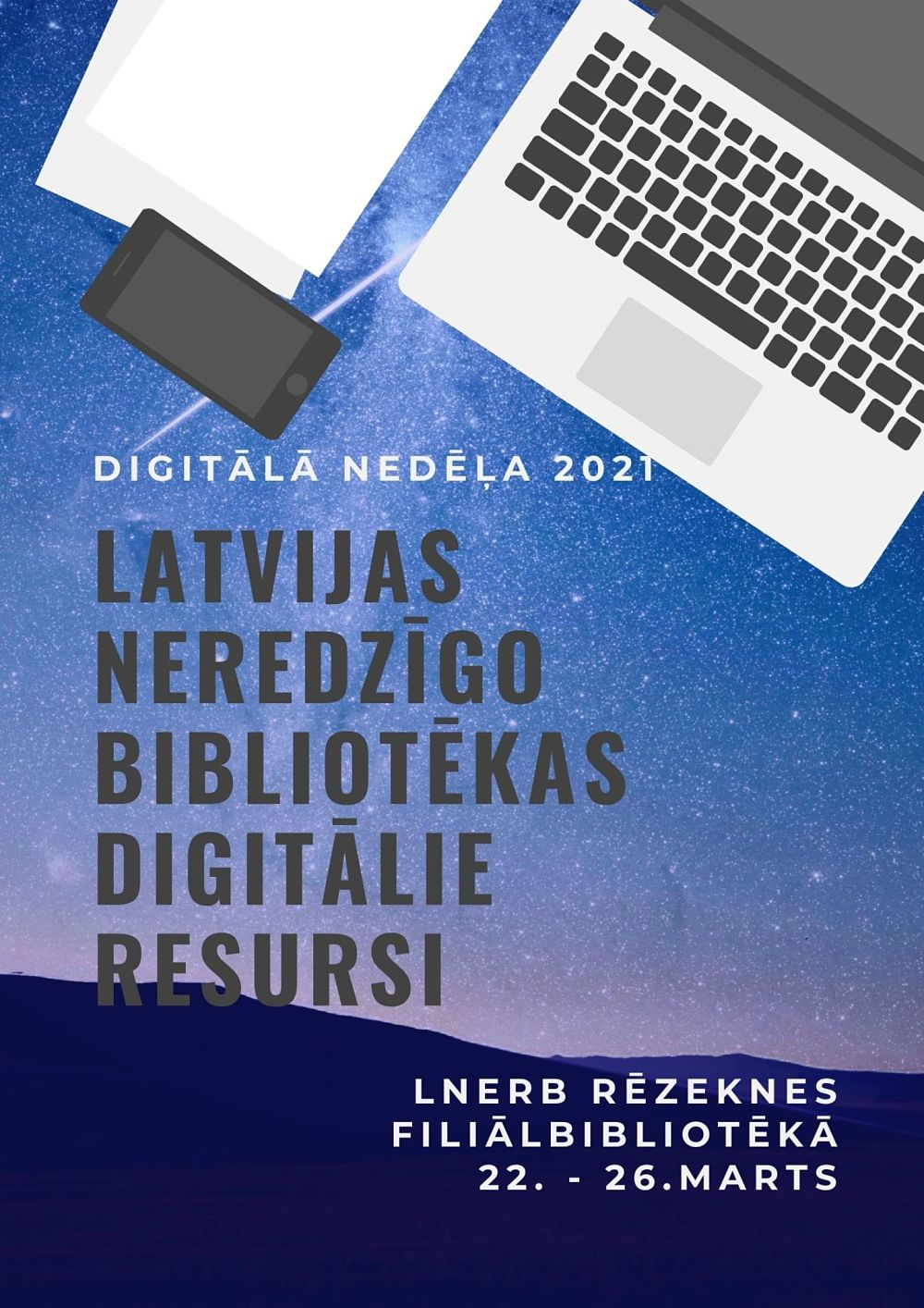 Plakāts Digitālā nedēļa Rēzeknes filiālē