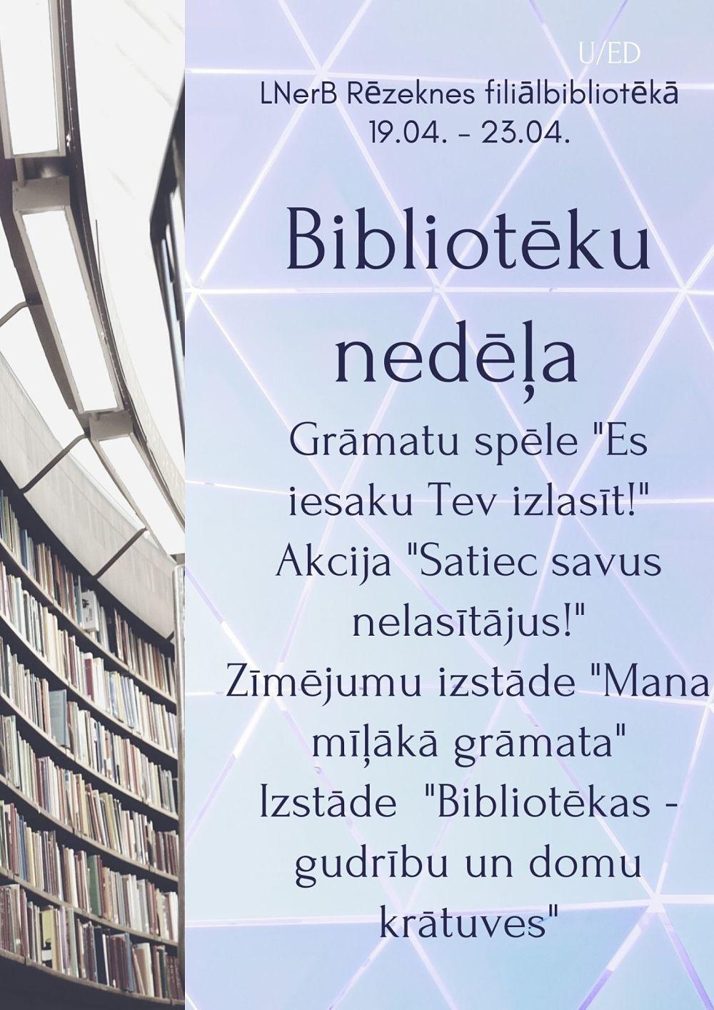 Plakāts Bibliotēku nedēļa Rēzeknē