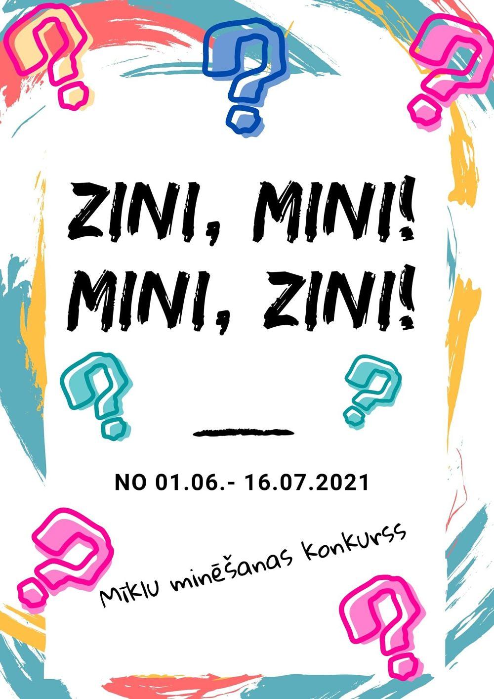 Plakāts konkursam Zini, mini! Mini, zini!
