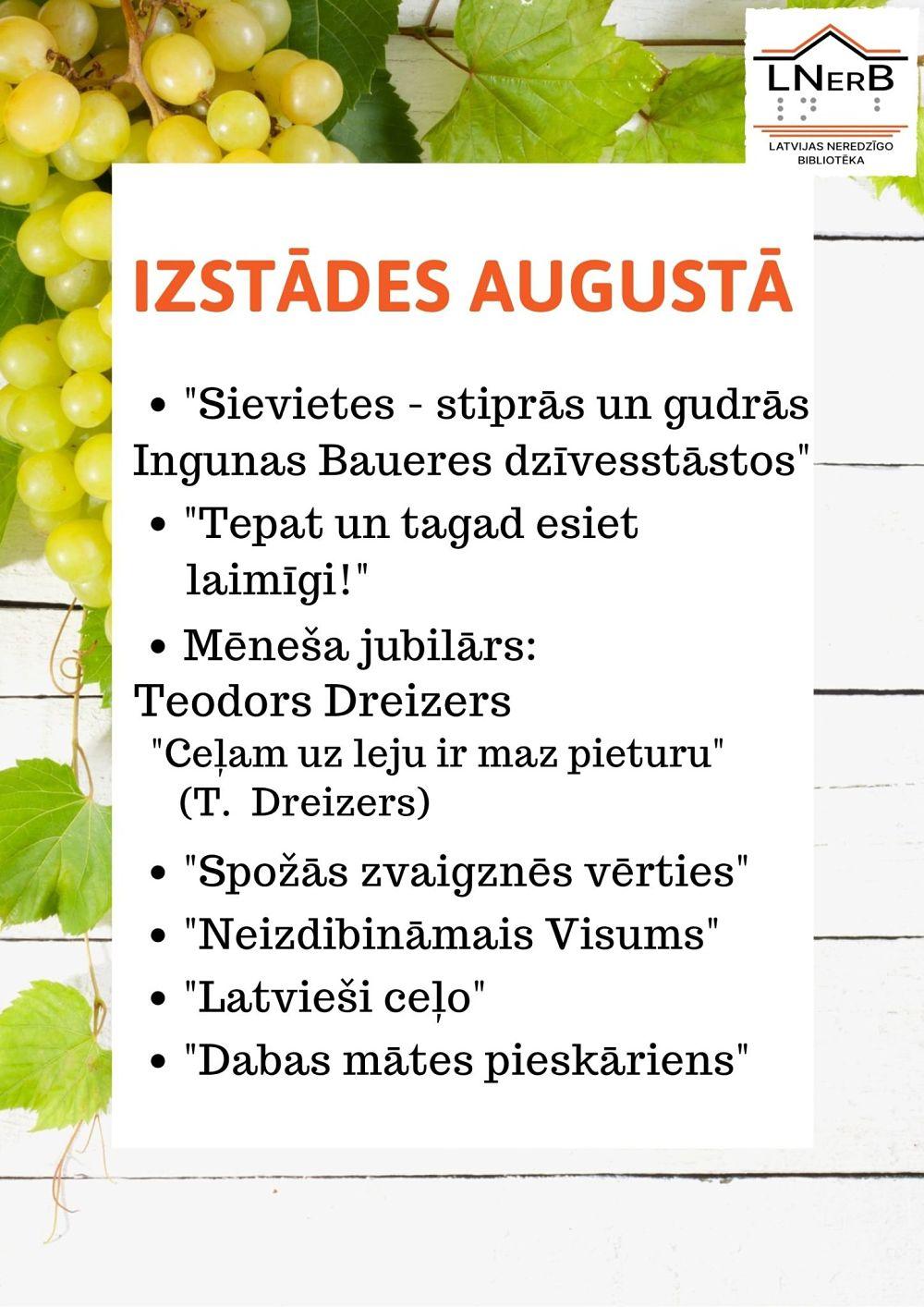 Plakāts izstādes augustā Rīgā