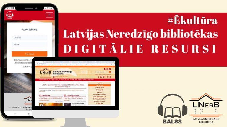 Latvijas Neredzīgo bibliotēkas digitālie resursi 2021 galvene